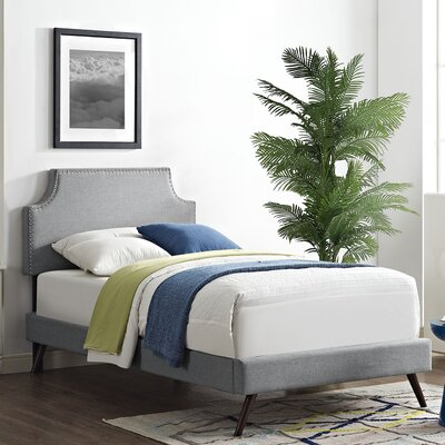 Preciado Solid Wood Upholstered Platform Bed with Round Splayed Legs Size: Twin, Finish: Light Gray
