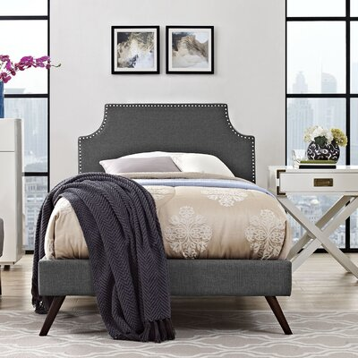 Preciado Solid Wood Upholstered Platform Bed with Round Splayed Legs Finish: Gray, Size: Twin