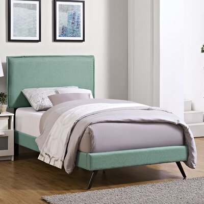 Camille Upholstered Platform Bed Size: Twin, Finish: Laguna