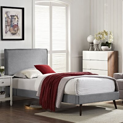 Camille Upholstered Platform Bed Size: Twin, Finish: Light Gray