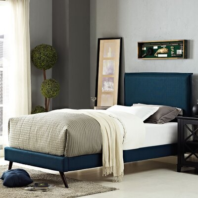 Sardina Upholstered Platform Bed Size: Twin, Color: Azure
