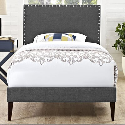 Preiss Solid Wood Frame Upholstered Platform Bed Finish: Gray, Size: Twin