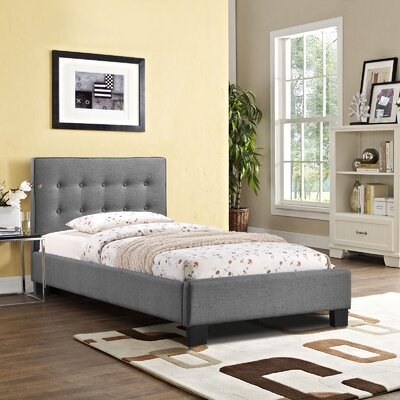 Caitlin Upholstered Platform Bed Size: Twin, Color: Gray