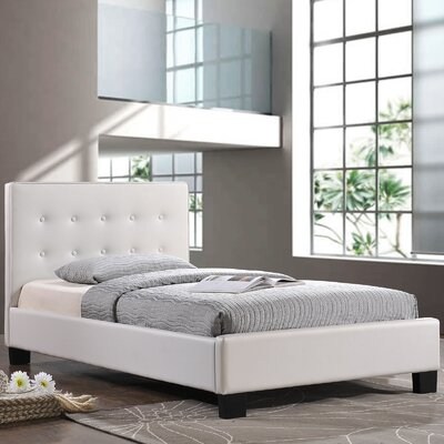 Caitlin Upholstered Platform Bed Size: Twin, Color: White