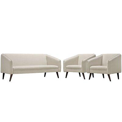 Slide 3 Piece Living Room Set Upholstery: Beige