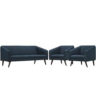 Slide 3 Piece Living Room Set Upholstery: Azure
