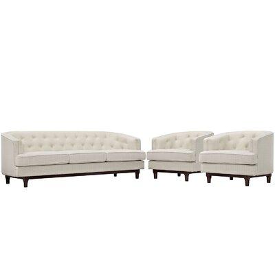 Coast 3 Piece Living Room Set Upholstery: Beige