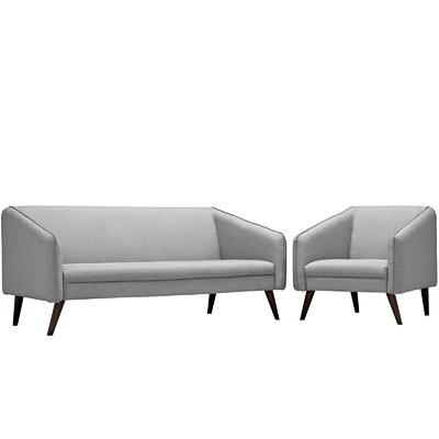 Slide 2 Piece Living Room Set Upholstery: Light Gray