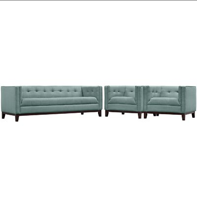 Serve 3 Piece Living Room Set Color: Laguna