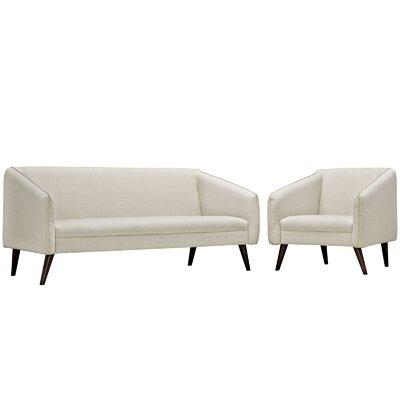 Slide 2 Piece Living Room Set Upholstery: Beige