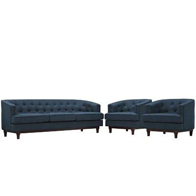 Coast 3 Piece Living Room Set Upholstery: Azure