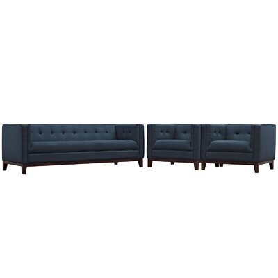 Serve 3 Piece Living Room Set Color: Azure