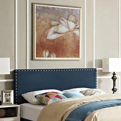 Preiss Queen Upholstered Panel Headboard Upholstery: Navy Blue