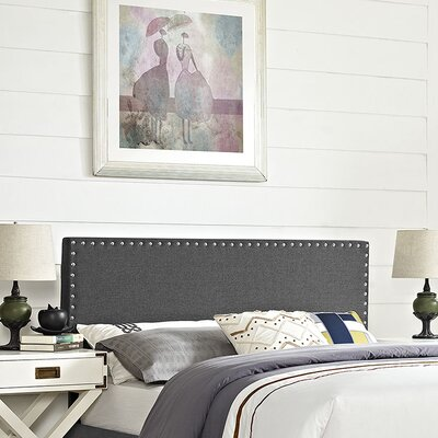 Preiss Queen Upholstered Panel Headboard Upholstery: Gray