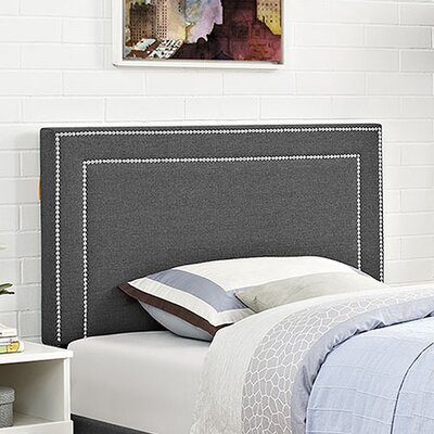 Eyre Twin Upholstered Wood Panel Headboard Upholstery: Gray