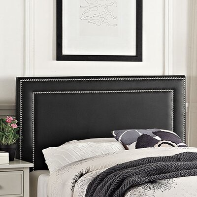 Eyre Twin Upholstered Panel Headboard Upholstery: Black