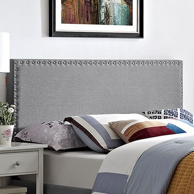 Preiss Queen Upholstered Panel Headboard Upholstery: Light Gray