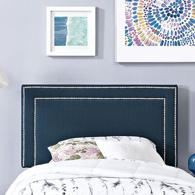 Eyre Twin Upholstered Wood Panel Headboard Upholstery: Azure