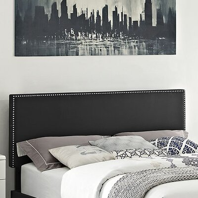 Phoebe Upholstered Panel Headboard Size: King, Upholstery: Black