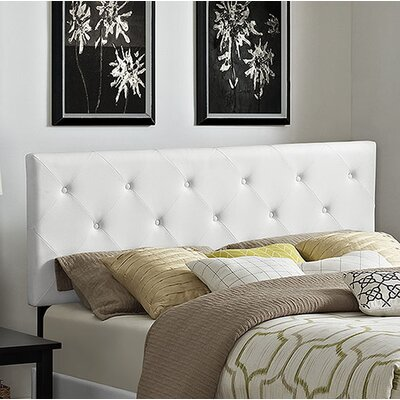 Terisa Upholstered Panel Headboard Size: Full, Upholstery: White