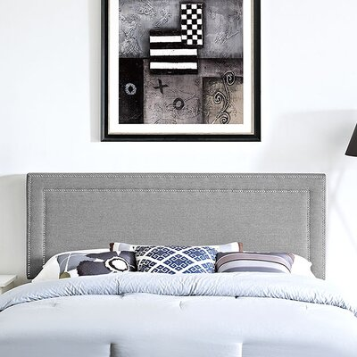 Jessamine Upholstered Panel Headboard Size: Full, Upholstery: Light Gray