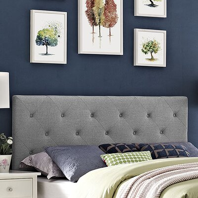 Terisa Upholstered Panel Headboard Size: Full, Upholstery: Light Gray