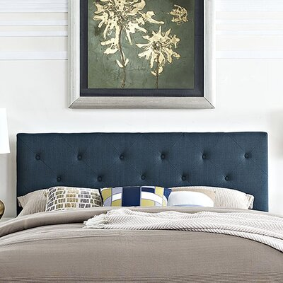 Terisa Upholstered Panel Headboard Upholstery: Azure, Size: King