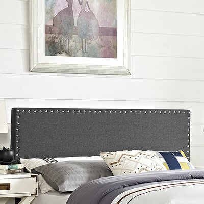 Preiss Solid Wood Upholstered Panel Headboard Upholstery: Gray, Size: King