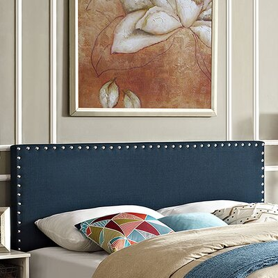 Preiss Solid Wood Upholstered Panel Headboard Upholstery: Azure, Size: King
