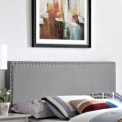 Preiss Solid Wood Upholstered Panel Headboard Size: Full, Upholstery: Light Gray
