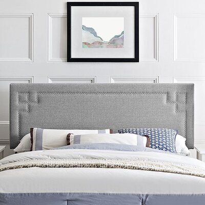 Josie Upholstered Panel Headboard Size: Full, Upholstery: Light Gray