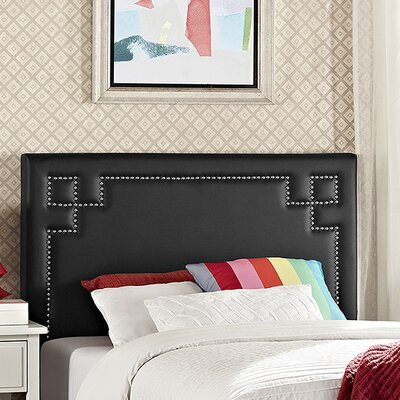 Josie Upholstered Panel Headboard Size: Twin, Upholstery: Black