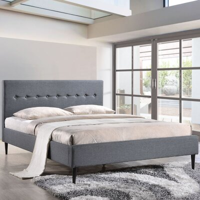 Upholstered Platform Bed Upholstery: Smoke, Size: Queen