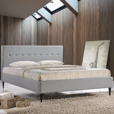 Upholstered Platform Bed Size: Full, Color: Gray