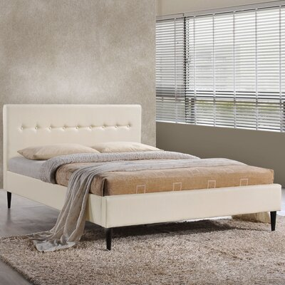 Upholstered Platform Bed Size: Queen, Color: Ivory