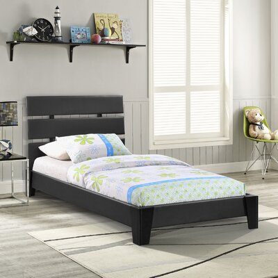 Zoe Upholstered Platform Bed Size: Full, Color: White