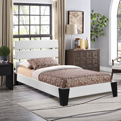 Zoe Upholstered Platform Bed Size: Twin, Color: White