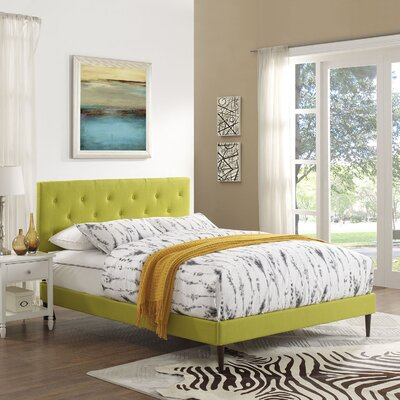 Terisa Upholstered Platform Bed Color: Wheatgrass, Size: Queen
