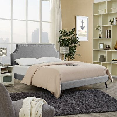 Preciado Solid Wood Upholstered Platform Bed Color: Light Gray, Size: Queen