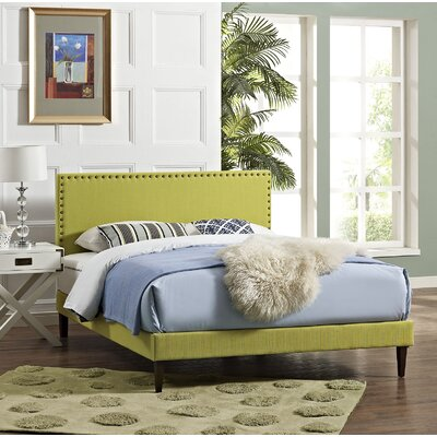 Preiss Wood Upholstered Platform Bed Size: King, Color: Wheatgrass
