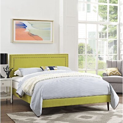 Eyre Upholstered Round Tapered Legs Platform Bed Size: King, Color: Wheatgrass