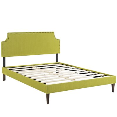 Preciado Wood Frame Upholstered Platform Bed Color: Wheatgrass, Size: King