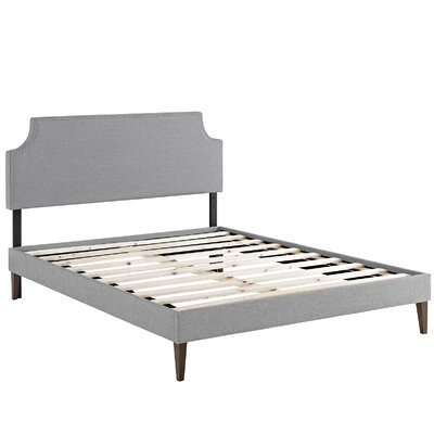 Preciado Wood Frame Upholstered Platform Bed Color: Light Gray, Size: King