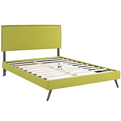 Camille Upholstered Platform Bed Color: Wheatgrass, Size: Full
