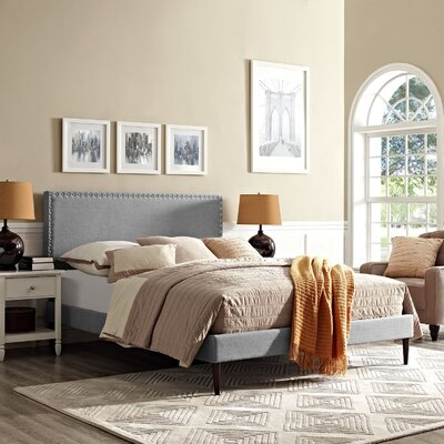 Phoebe Upholstered Platform Bed Color: Light Gray, Size: Queen