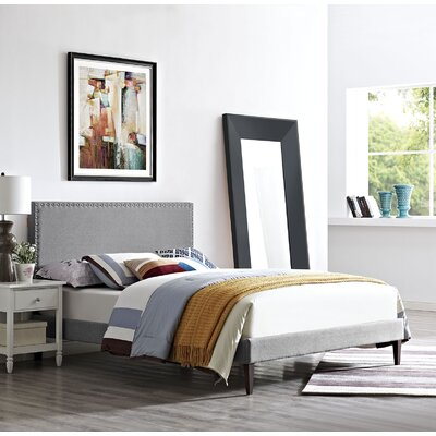 Preiss Wood Upholstered Platform Bed Color: Light Gray, Size: Queen