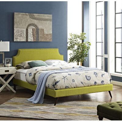 Preciado Solid Wood Upholstered Platform Bed Size: Full, Color: Wheatgrass