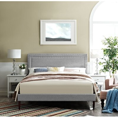 Eyre Upholstered Round Tapered Legs Platform Bed Color: Light Gray, Size: Queen