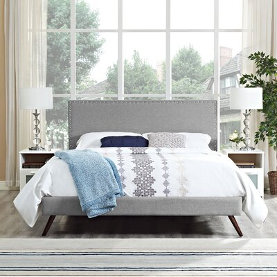 Preiss Solid Wood Upholstered Platform Bed Color: Light Gray, Size: Queen