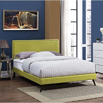 Preiss Solid Wood Upholstered Platform Bed Color: Wheatgrass, Size: Queen